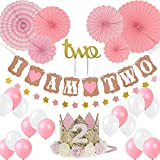 Girl Two Birthday Decoration-Baby Girl/boy 2st Birthday Party Hat Princess Tiara Crown, Cake Topper Two, I Am Two and Stars Banner, Pink Hanging Paper Fan Flower, Pink and White Balloons