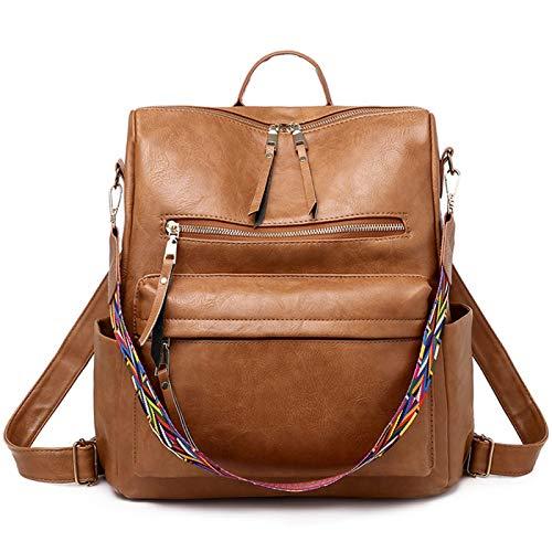 Mochila de mujer ligera de piel sintética de moda monedero bolso de hombro mochila de viaje señora, Brown (Marrón) - XT021