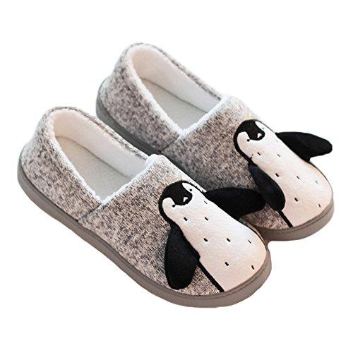 JadeRich Unisex Penguin Shoes Cozy Fleece Warm House Slippers for Adults/Little Kids