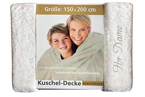 Krings Fashion Premium Kuscheldecke 150 x 200 cm - Persönlich anpassbar mit Namen & Text - Hochwertige Decke aus 100 prozent Polyester - Tagesdecke-Farbe Creme -Stickfarbe wählbar