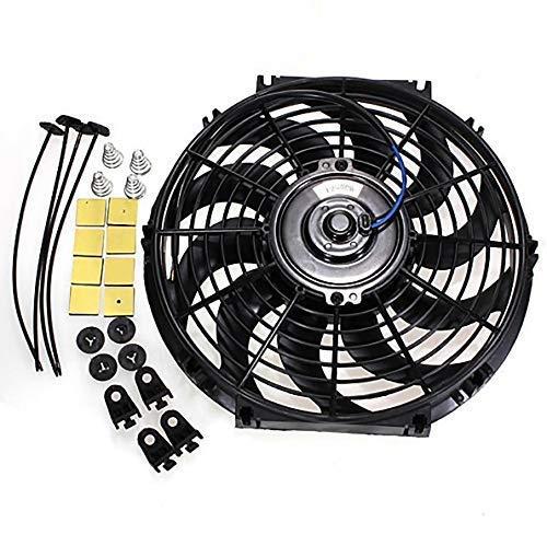 MASO Ventilador de refrigeración universal de radiador de 12 pulgadas 12 V 80 W Intercooler eléctrico Ventilador de motor de coche+Kit de montaje (negro)