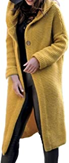 LENXH Women's Long Sleeve Solid Color Sweater Casual Hooded Button Button Knit Jacket Fashion Long Sweater