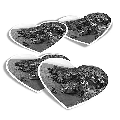 Vinyl Heart Stickers (Set of 4) - BW - Anchor Bay Malta Fun Decals for Laptops,Tablets,Luggage,Scrap Booking,Fridges #41673
