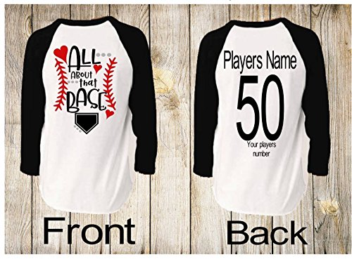 Handmade in America Personalized Unisex Raglan Baseball shirts for Moms Dads and Siblings All about that Base