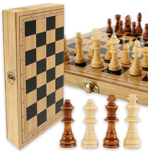 UIGJIOG Nueva Tabla de ajedrez de Madera, Tablero de ajedrez de Madera para ajedrez de Madera Plegable para Principiantes para niños o educación Avanzada 24x24x2cm