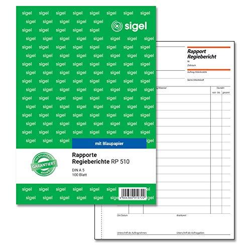 SIGEL RP510 Rapport / Regiebericht A5, 100 Blatt
