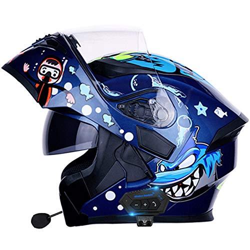 Casco Motocicleta Modular con Bluetooth, Casco de Moto Integral, Ligero, con Doble Visera,Cascos de Motocross,Jóvenes, Hombres, Mujeres, Adultos Aprobado por ECE C,L=59~60cm