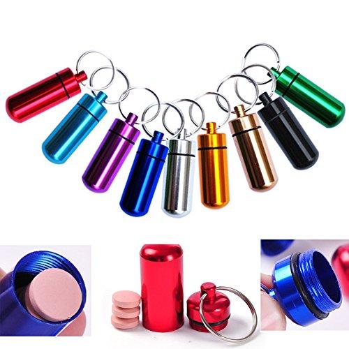 Set mit 9 wasserdichten Aluminium-Metall-Pillendosen mit Schlüsselanhänger – Outdoor-Medizinflasche Schlüsselanhänger Kleiner Gallipot Erste Hilfe Medikamentenbehälter Pillendose H0008