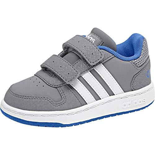 adidas Jungen Unisex Kinder Hoops 2.0 CMF Sneaker, Grau (Grey/Ftwwht/Blue Grey/Ftwwht/Blue), 18 EU