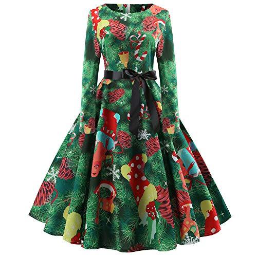 VEMOW Heißer Weihnachten Abendkleid Langarm O-Ausschnitt Cocktailkleid Casual Täglichen Druck Vintage Kleid Abend Party Kleid Herbst Winter Frühling(X4-Grün 2, 34 DE/M CN)