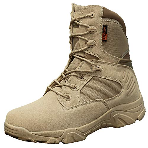 YMXYMM Tactical Boots for Men with Zipper,Army Combat Boots Shoe,Lightweight Mountain Hybrid Boot,Men