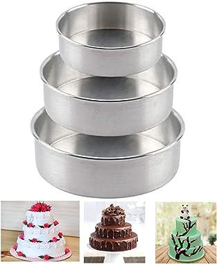 "SE SHIBU Brand Aluminium Baking Round Cake Pan/Mould for Microwave Oven -( Diameter 6"", 7"", 8"" inch , Silver (Set"