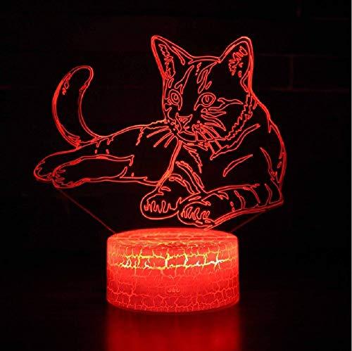 3D LED Custom Night Lights Cat Dog Bear Color Change Hologram Atmosphere Novelty Lamp for Home Decoration Visual Illusion Gift