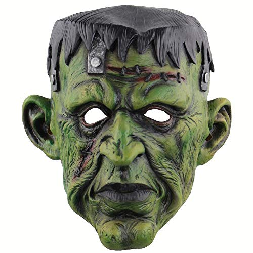 XWYWP Mscara de Halloween Joker Mscara Pelcula Cosplay Terror Payaso Miedo Mscara con Pelo Verde Peluca Halloween Ltex Mscara Fiesta Disfraz 26x20cm
