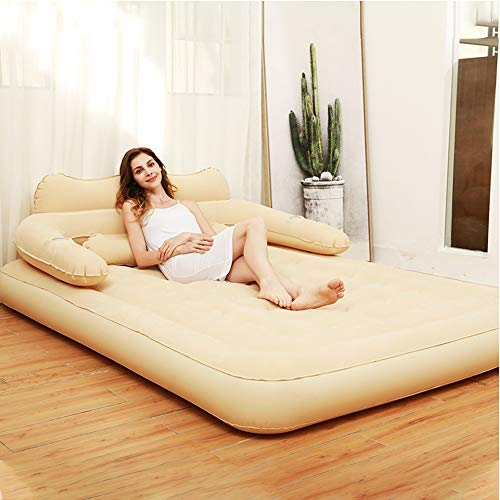 JJZD Comfort Double Individual HIGH Raised Air Mattress, Inflatable Airbed with Pump Best Inflatable Airbed Queen Size Removable Backrest (Color : Beige)