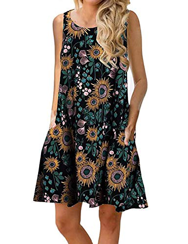 Tanst Sky Tropical Dresses for Women, Boho Dress Multicolor Sunflower Printed Summer Clothing Breezy Round Hem Long Tunics with Side Pockets Energetic Juniors Clothing Cocktail Attire Black Large