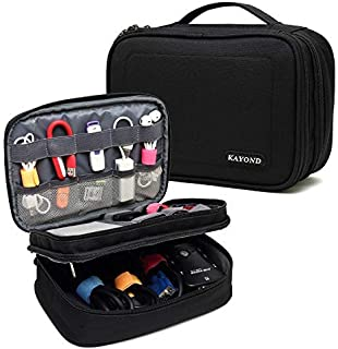 KAYOND Tablet Electronics Organizer Travel Cable Cord Packing Accessories Gadget Gear Storage USB Cables SD Memory Cards Earphone Flash Hard Drive Bag,8 Inch Tablet (Black)