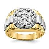 Anello da uomo in oro 14 carati con due lati increspati, 1 carato, con diamante SI1/SI2, G-H