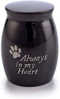 Sunling in My Heart Paws Engraved Small Stainless Steel Decorative Memorial Keepsake Cremation Urns Jar for Human Pet Ashes Funeral Bottle Holder for Grandma,Grandpa,Black,Waterproof