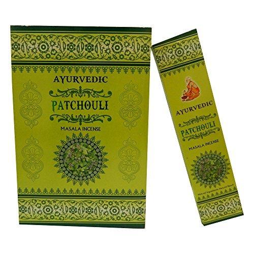 Bastoncini d'incenso 12 scatole Ayurvedic Patchouli Masala incenso indiano