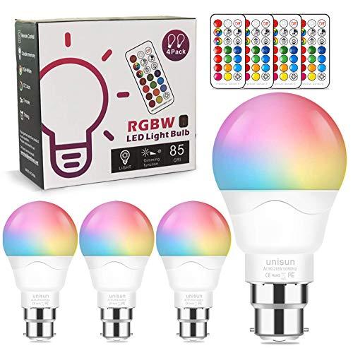 B22 LED-Glühbirnen, 40 Watt-Äquivalent, 6 W Farbwechsel-Glühbirnen mit Fernbedienung Dimmbare warmweiße Bajonett-Nachtlichter für Dekorationspartys und mehr [Energieklasse A +]