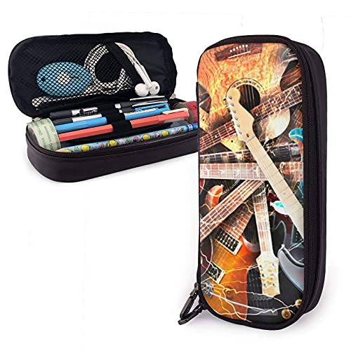 XCNGG Estuche para lápices neceser Big Colorful Capacity Pencil Marker Holder Stationery Case Desk Organizer with Large Storage - Guitars