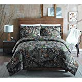 MISC Camo Hunting Comforter Queen Set Brown Green Realtree Bedding Camouflage Pattern Branches Lodge Forest Rustic Cabin Outdoors Print Cottage Trees Leaves Fall, Cotton 3 Piece