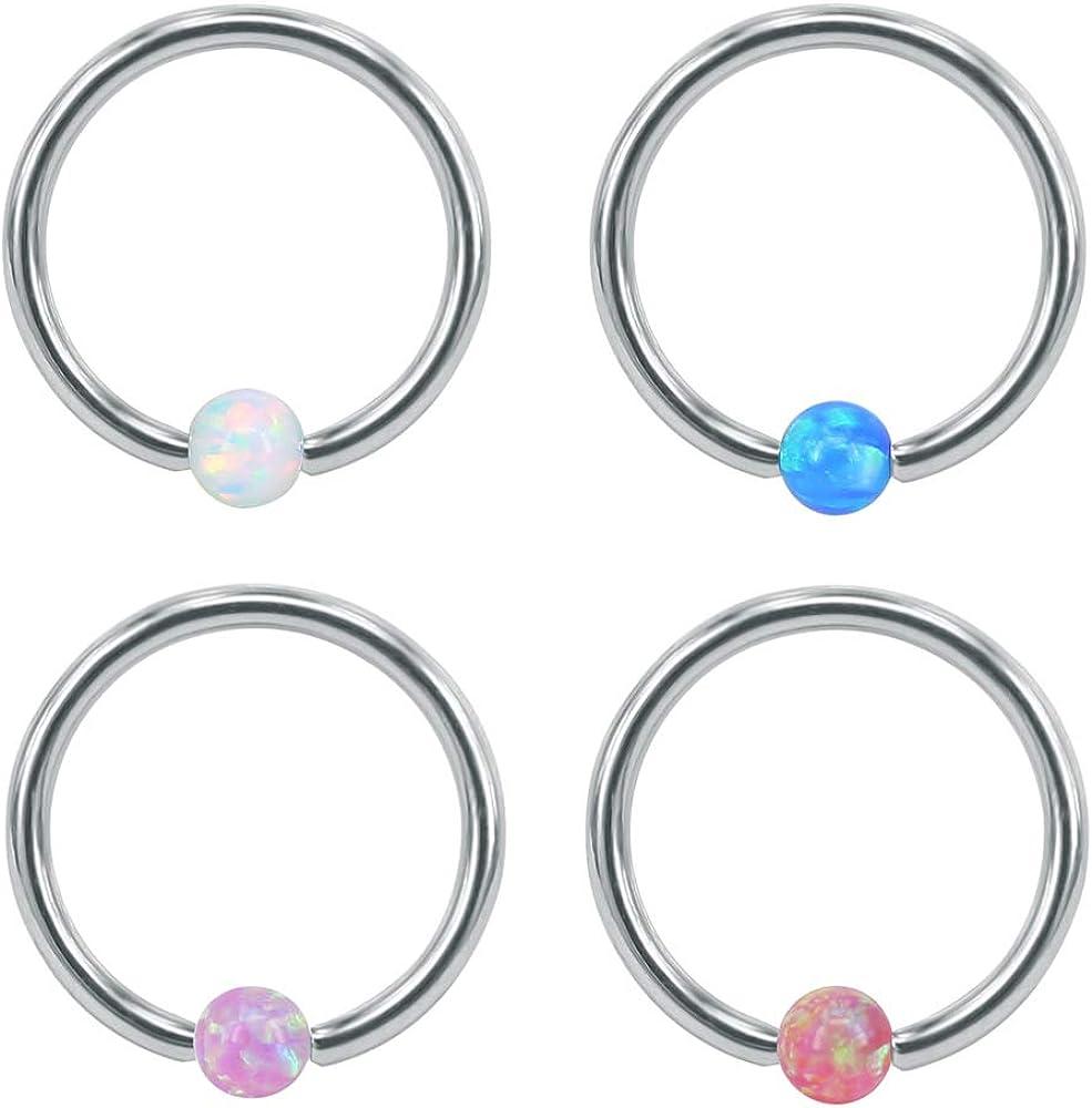 Piercingpops 4PCS 16G Opal Nose Ring Stainless Steel Captive Bead Septum Ring Helix Cartilage Earrings Hoop Piercing Jewelry