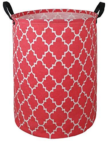 KUNRO Cesta de almacenamiento de gran tamaño impermeable con revestimiento para ropa de guardería, juguetes (rejillas rojas)