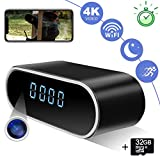 Hidden Camera Clock ZXWDDP Spy Wireless Full HD 4K&1080P Home Security Nanny Cam with Low Light Night Vision-Motion Detection-Support iOS/Android