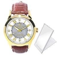 ソーラー電波 メンズ腕時計 クラシックデザイン 天然ダイヤモンド4石付JH-085 折りたたみミラー付 (ゴールドホワイトMGW)