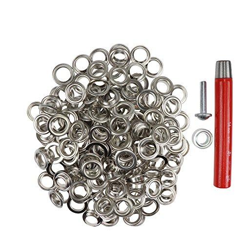 Großpackung Ösen 14 mm Inhalt 100 Stück + Locheisen + Ösenwerkzeug (silber)
