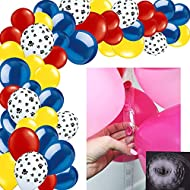 Paw Party Decoration Balloon Garland & Arch Kit-100pcs Red Blue Yellow Color Paw Print Latex Balloons, 16.5 Feets Arch Balloon Garland Strip for Paw Patrol Party Dog Birthday Party