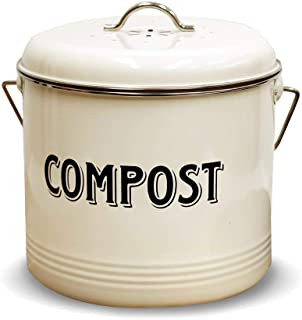 Compost Bin with 7 FREE Charcoal Filters by Silky Road   0.66-Gallon/3-Liter   Vintage Cream Powder-Coated Carbon Steel   Kitchen Pail with Lid, Trash Keeper Container Bucket, Recycling Caddy (Small)