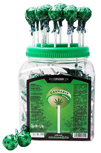 Euphoria Cannabis Lollipops (12 g x 100 Stück) | Kugel Lutscher - Lolly mit Hanf Geschmack (Hanf)