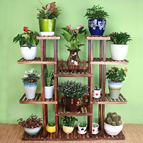 Étagères de porche Porte-pot à fleurs, 4 étagères à fleurs échelonnées avec roue Balcon Paratonnerre étagères en bois Rectangle Etagères multifonctions Support de plante de boîte à fleurs ( Couleur : A , taille : 120*25*128CM )