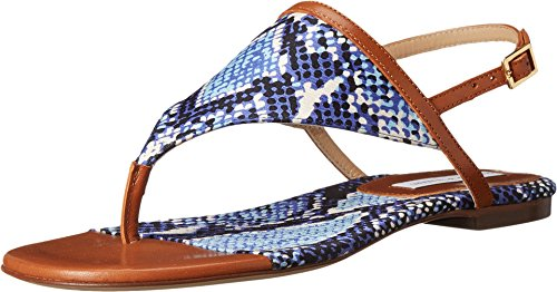 Diane von Furstenberg Women's Myrna, Brandy Vacchetta/Blue Multi Python Print Fabric, 7 B - Medium
