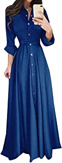 RkBaoye Women's V Neck High Waist Tunic Elegant Summer Maxi Long Dress
