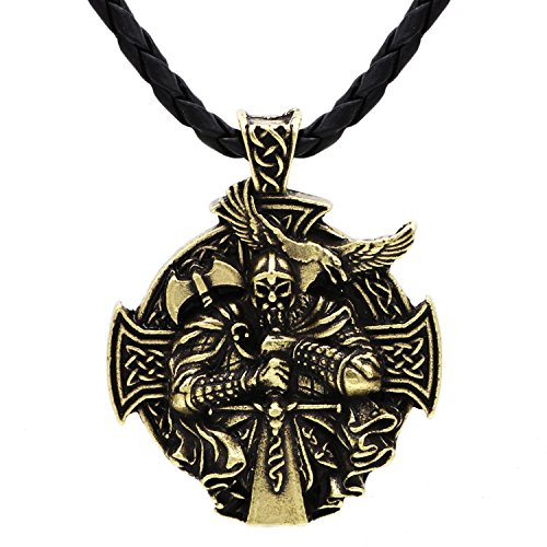 VIKINGS Detailed 3D Warrior Sword and Axe - Protection Celtic Cross Steampunk Mjolnir Scandinavian Raven Runen Pagan Fenrir Nordic Pendant Necklace - Stainless Steel Chain Bronze Leather