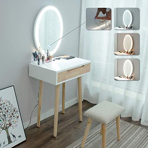YU YUSING Tocador de Maquillaje con luz, 1 cajones, Organizador extraíble, Mesa cosmética con Taburete tapizado, para Dormitorio, vestidor,Moderno, Espejo Ovalado, Color de Madera