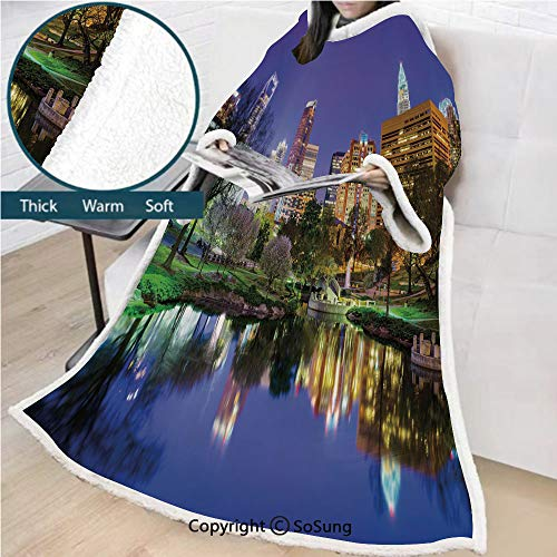 City Premium Sherpa Deluxe Fleece Blanket with Sleeves,North Carolina Marshall Park United States American Night Reflections on Lake Photo Throws Wrap Robe Blanket for Adult Women,Men,Multicolor