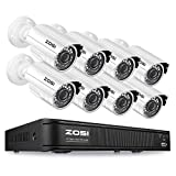 ZOSI H.265+ 1080p Home Security Camera System,CCTV DVR 8 Channel and (8) 1080p Surveillance Bullet Camera Outdoor/Indoor, Remote Access, Motion Detection (No Hard Drive)