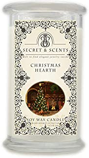 Elegant Jewelry in Soy Candle - Secret and Scents Highly Scented Soy Candles - Pick Your Scent and Jewelry Type (Christmas Hearth, Necklace)