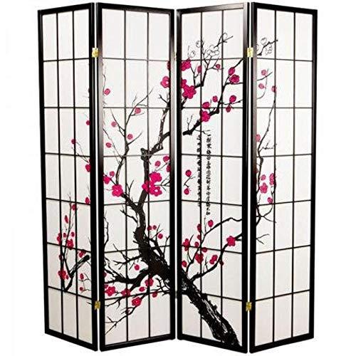 Fine Asianliving Japanischer Raumteiler L180xH180cm Paravent Shoji Sakura Reispapier Sichtschutz Trennwand Faltbar Raumtrenner Spanische Wand - 112-520