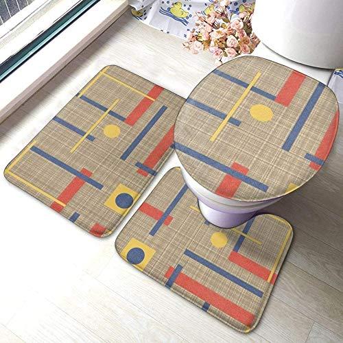 Juego de alfombras de baño antideslizantes de 3 piezas A Nod To Bauhaus, almohadillas antideslizantes para sala de estar, alfombrilla de baño + tapa de inodoro