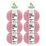 HANSA-FARM 100% Lana de Alpaca en más de 50 Colores (no Pica) - Set de 300g (6X 50g) - Suave Hilo Baby de Alpaca para Punto y Ganchillo en 6 grosores Rosa Perlado (Heather)