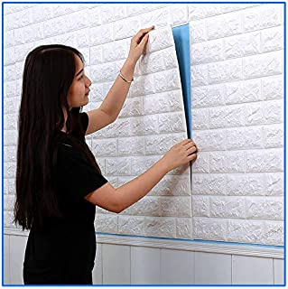 Wall Paper 5 Packs, Kasliny 3D Brick Wall Stickers Self-adhesive Panel Decal PE Wallpaper - Peel and Stick Wall Panels for TV Walls, Sofa Background Wall Decor 19.375 sq ft