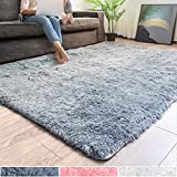 Rug Branch Non Slip Super Soft Fluffy Modern Rug for Bedroom | Home Decor Comfy Accent Carpet with Durable Jute Backing, Tufted Shaggy Kid Friendly Floor Mats for Playroom, Nursery (5ft x 7ft, Grey)