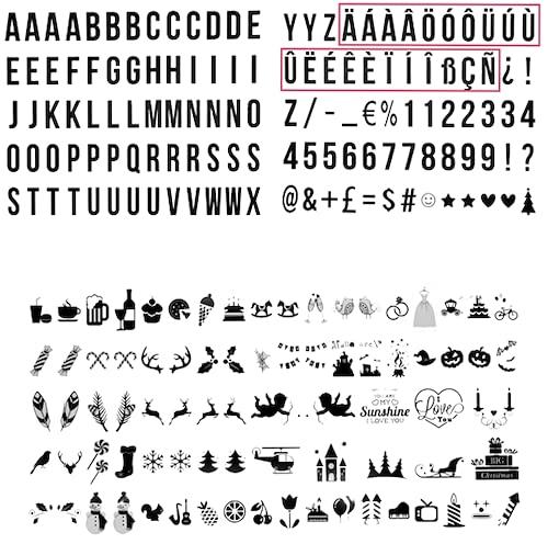 210 letras, números, emojis decorativas para caja de luz A3, A4, A5. Sin caja.