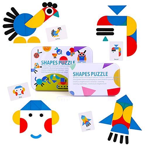 BBLIKE Holzpuzzle für Kinder, 36 PCS Tangram Holzmuster Blöcke + 60 PCS Musterkarten Kids Puzzle Set Montessori Spielzeug zum Sortieren und Stapeln von Spielen für Jungen und Mädchen ab 3 Jahren